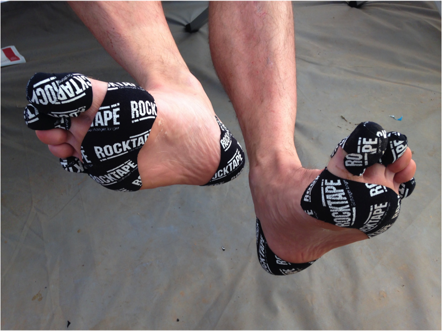 feet with rock tape